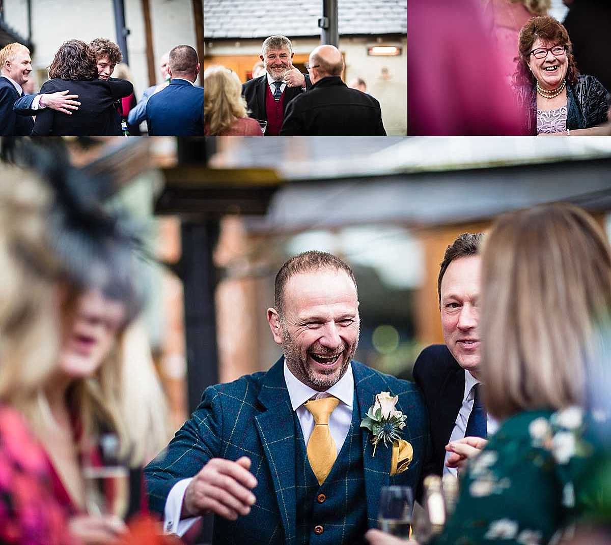 happy guests reactions as they are meeting and greeting at the cock o barton wedding