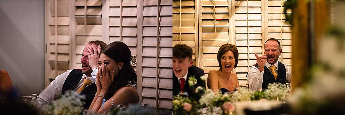 several shocked reactions from the bride and groom as the best men say their speech
