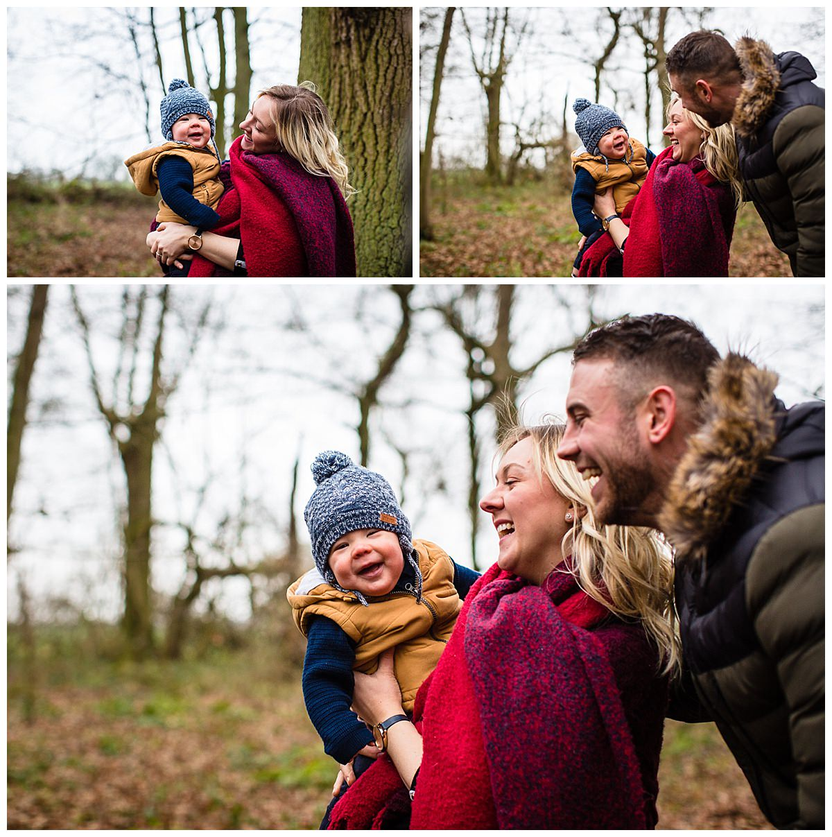 mum holding baby and looking at her son adoringly with dad by her side