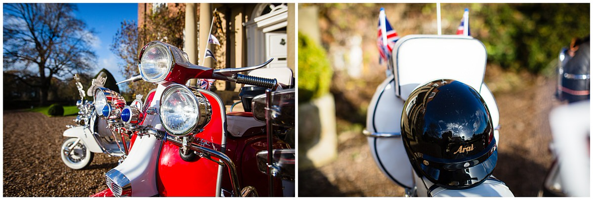 close up details photos of red retro lambretta shooter parked at iscoyd park