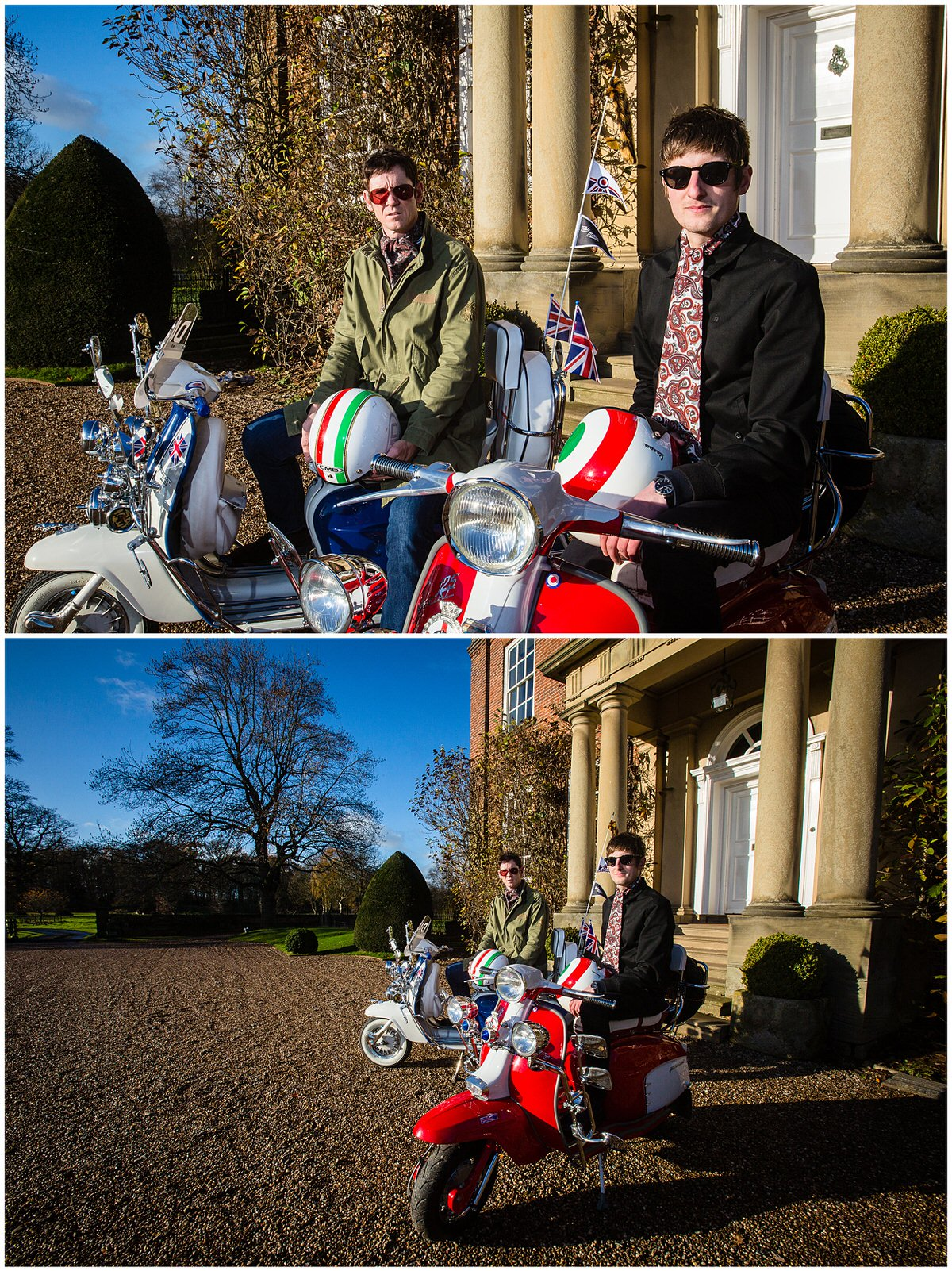 mod inspired Styled Shoot at Iscoyd Park male models sat on lamretta scooters on a sunny day