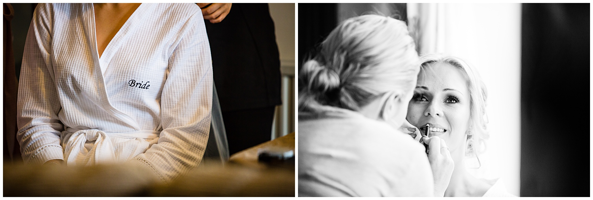 close up of bride having her makeup done and closs up on her wedding gown