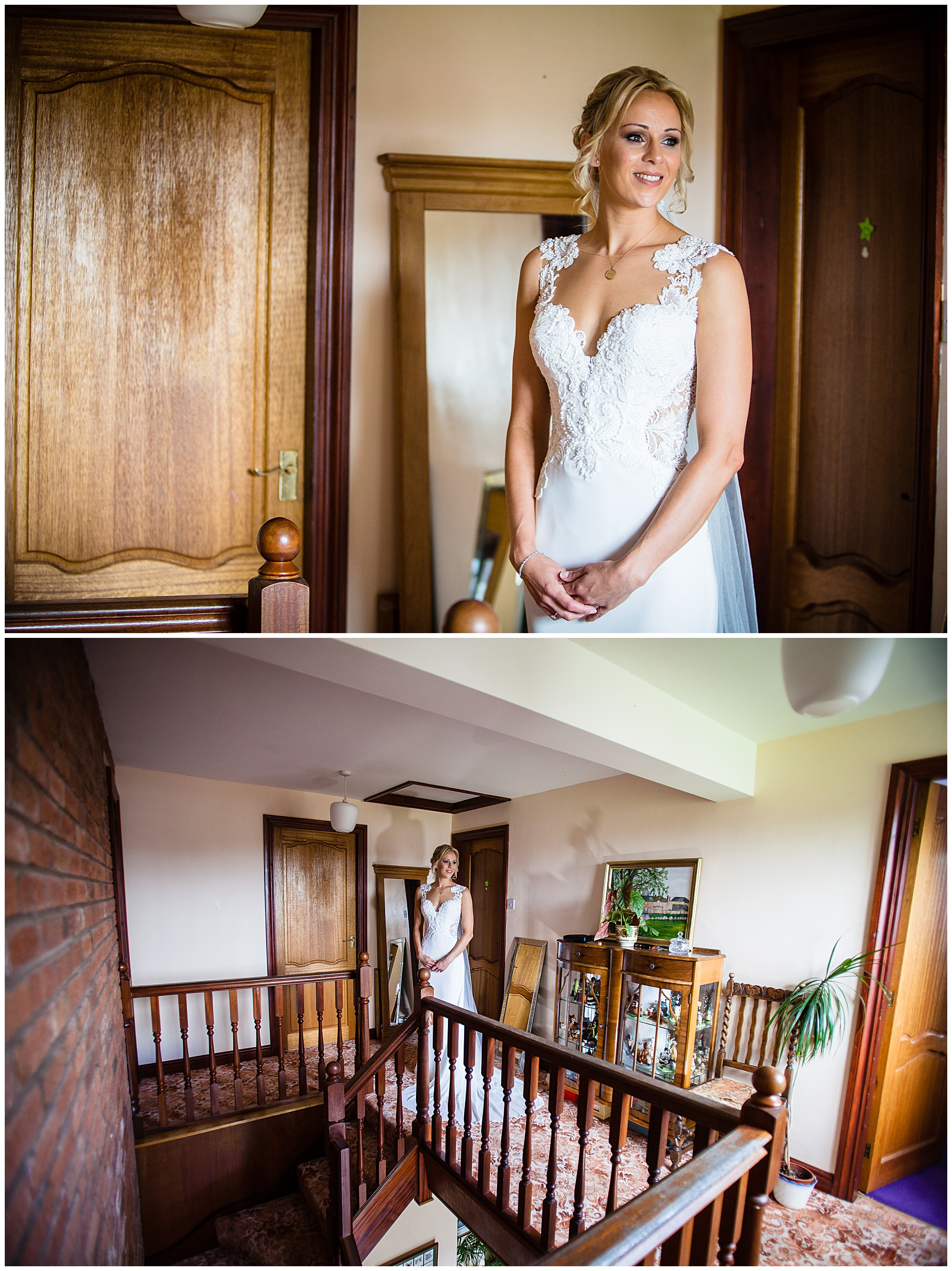bride looking out of the window in deep thought