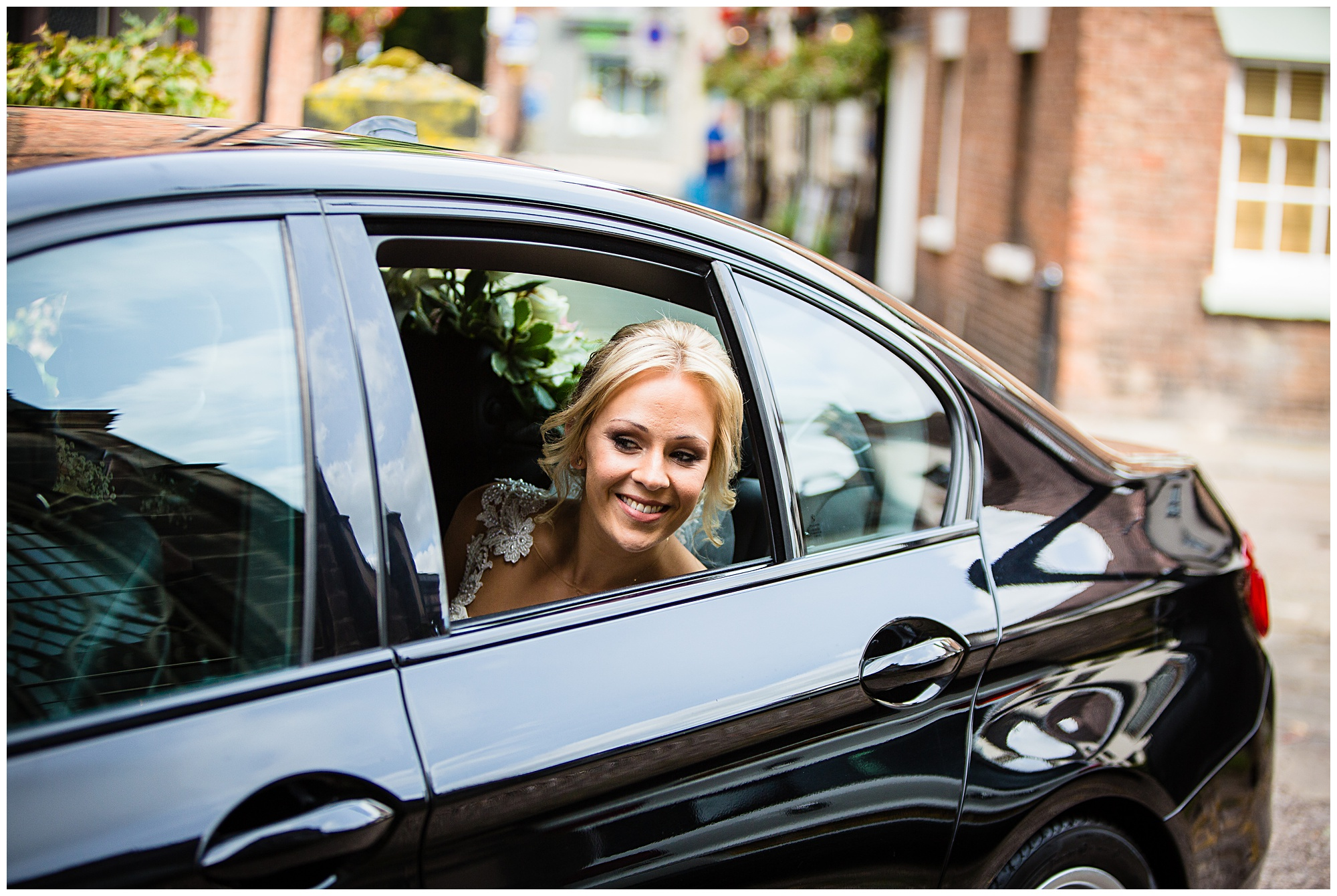 bride looking very excited for wedding - shropshire wedding photographer