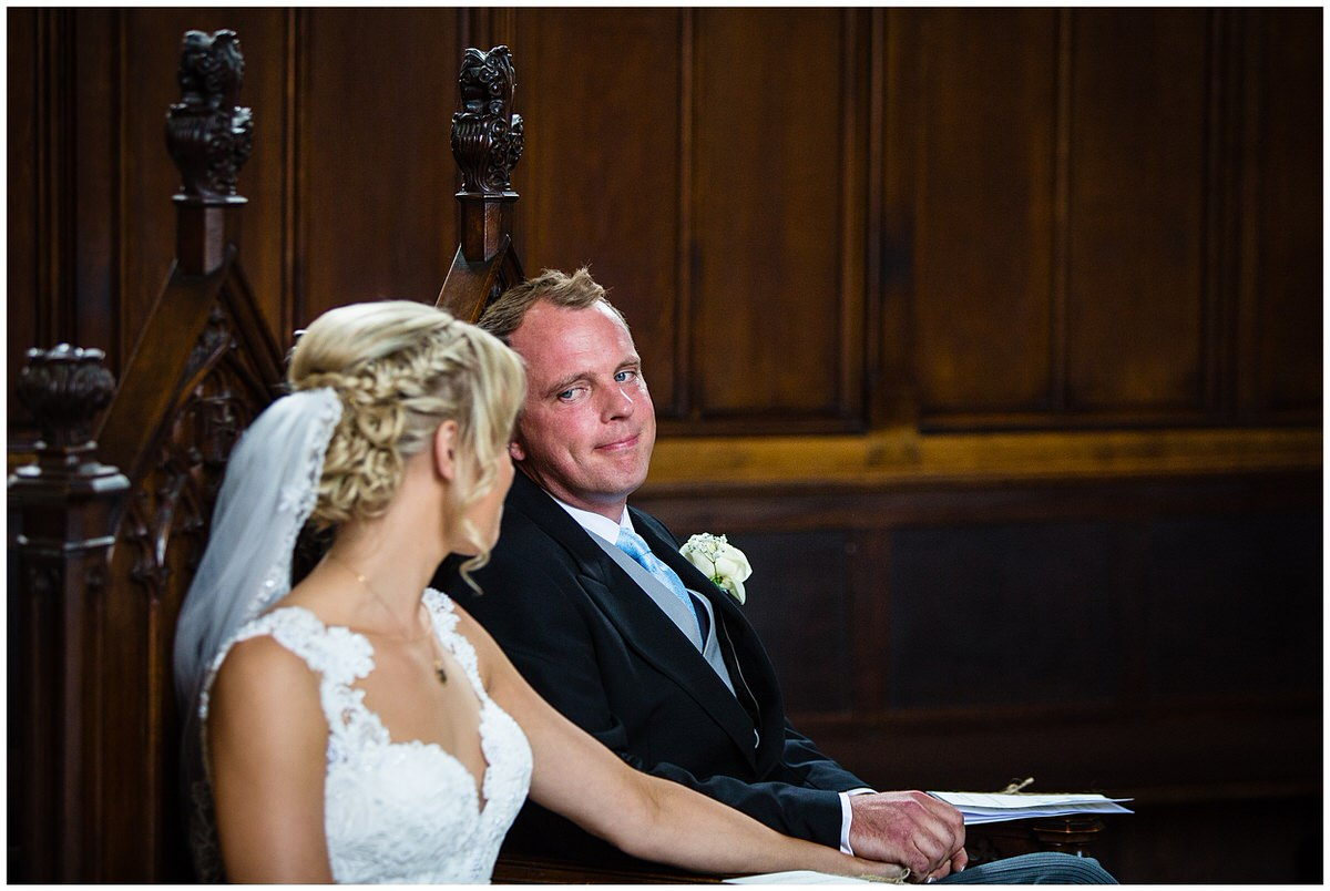 groom looking lovingly at his new bride - shropshire photographer