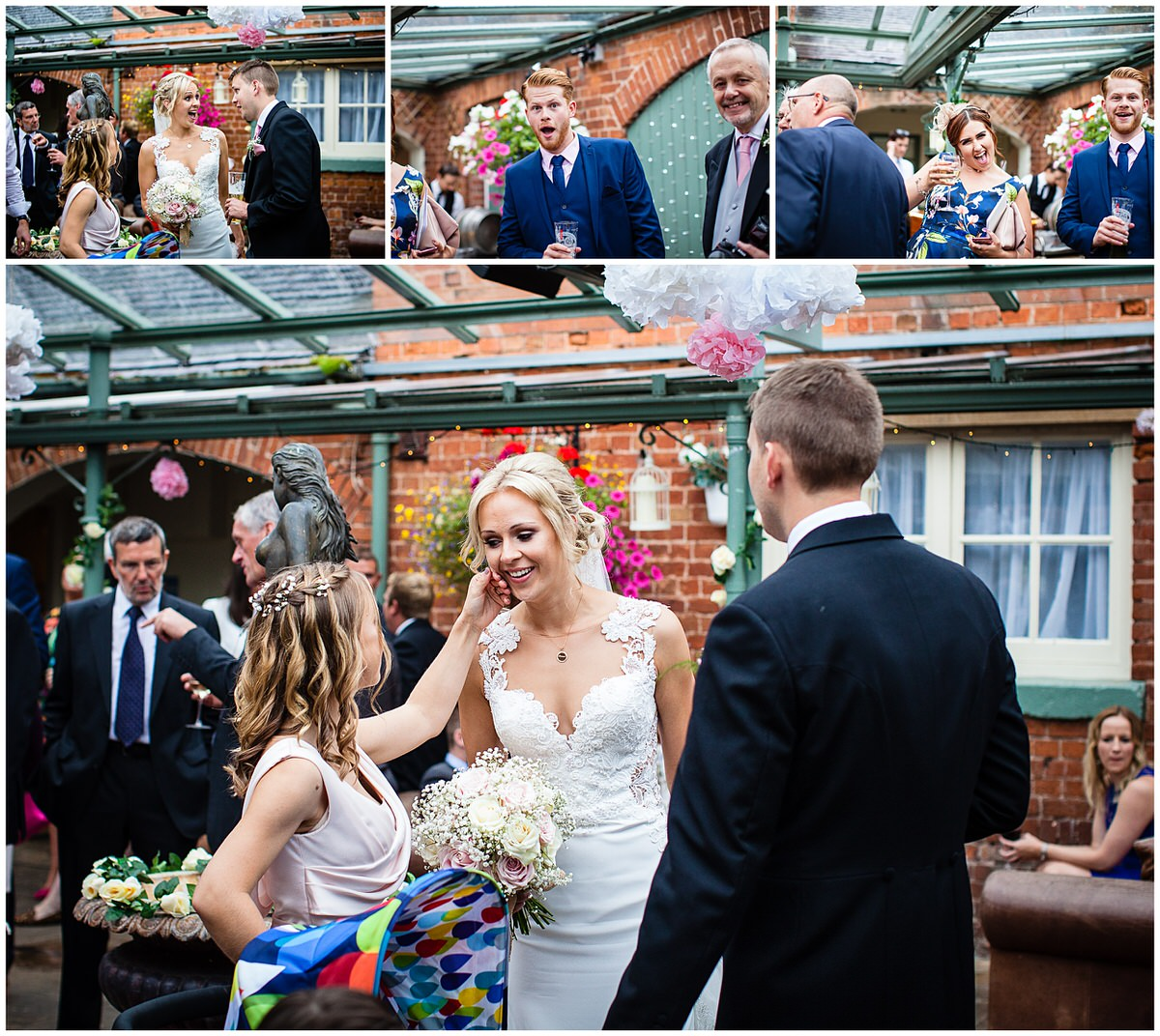guests having a good time and photo bombing and bridesmaid getting something off brides face