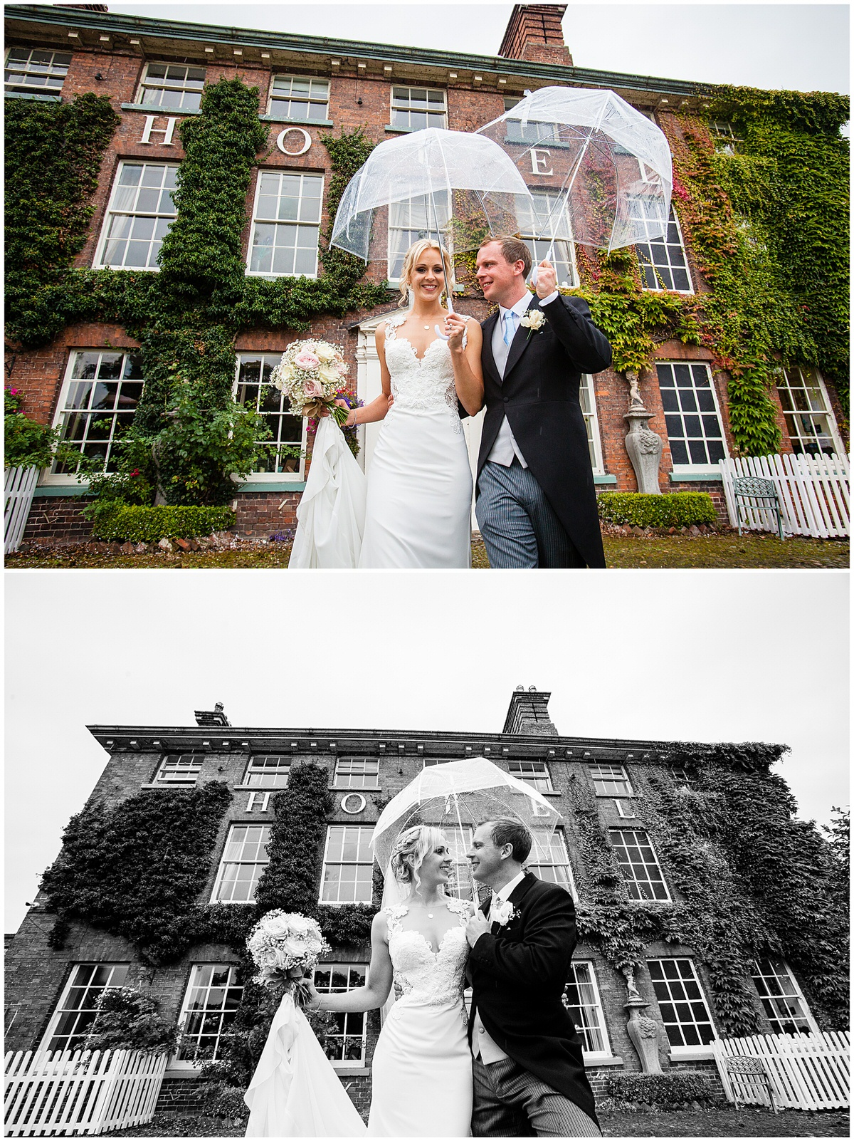 bride and groom looking cozy under the umbrella mytton and mermaid wedding photographer