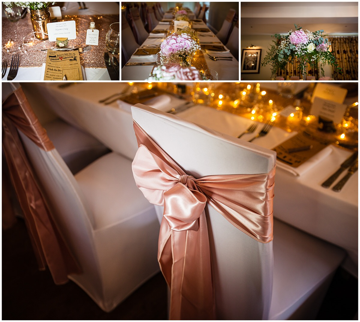 more details of the chair covers flowers and bouquests