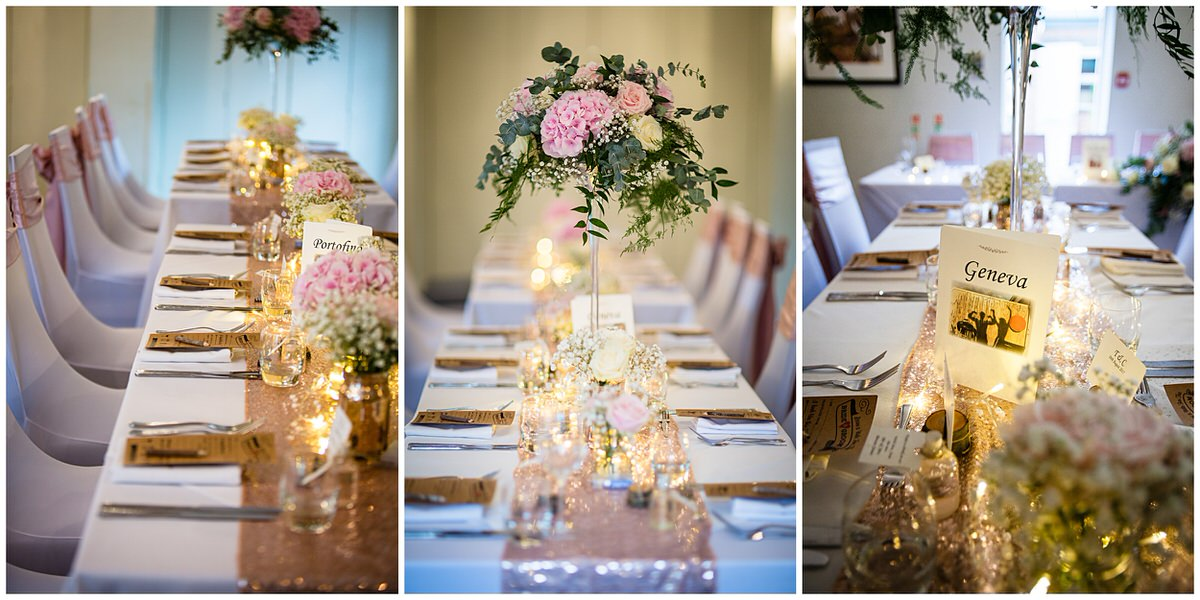 close up details on the table with pink sequin table runners and pink hydrangaes