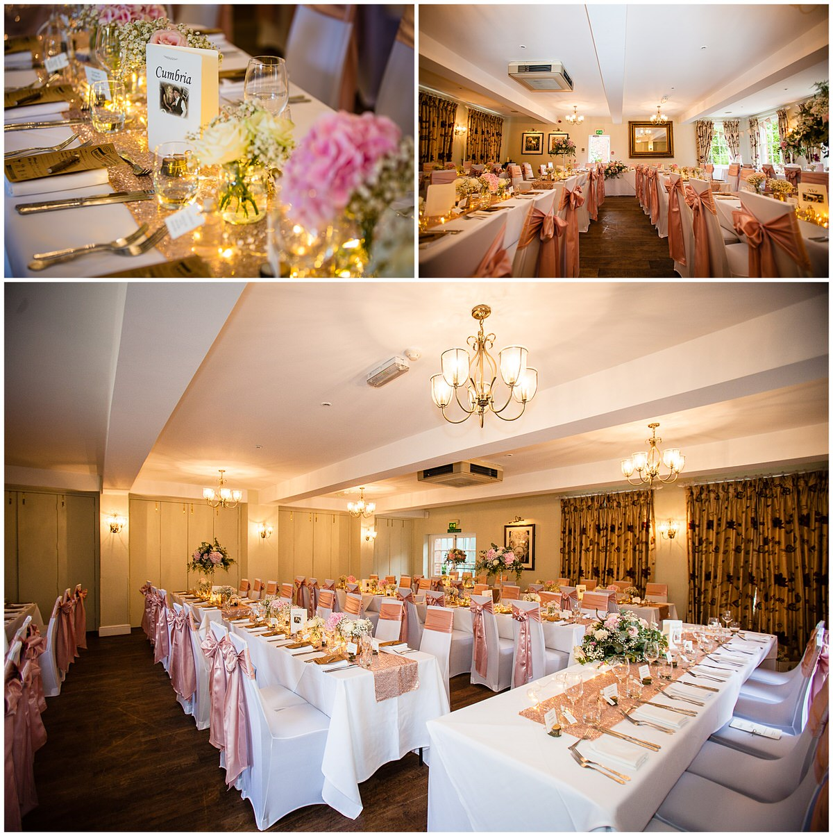 wide angle shots of the wedding breakfast at the mytton and mermiad photographer