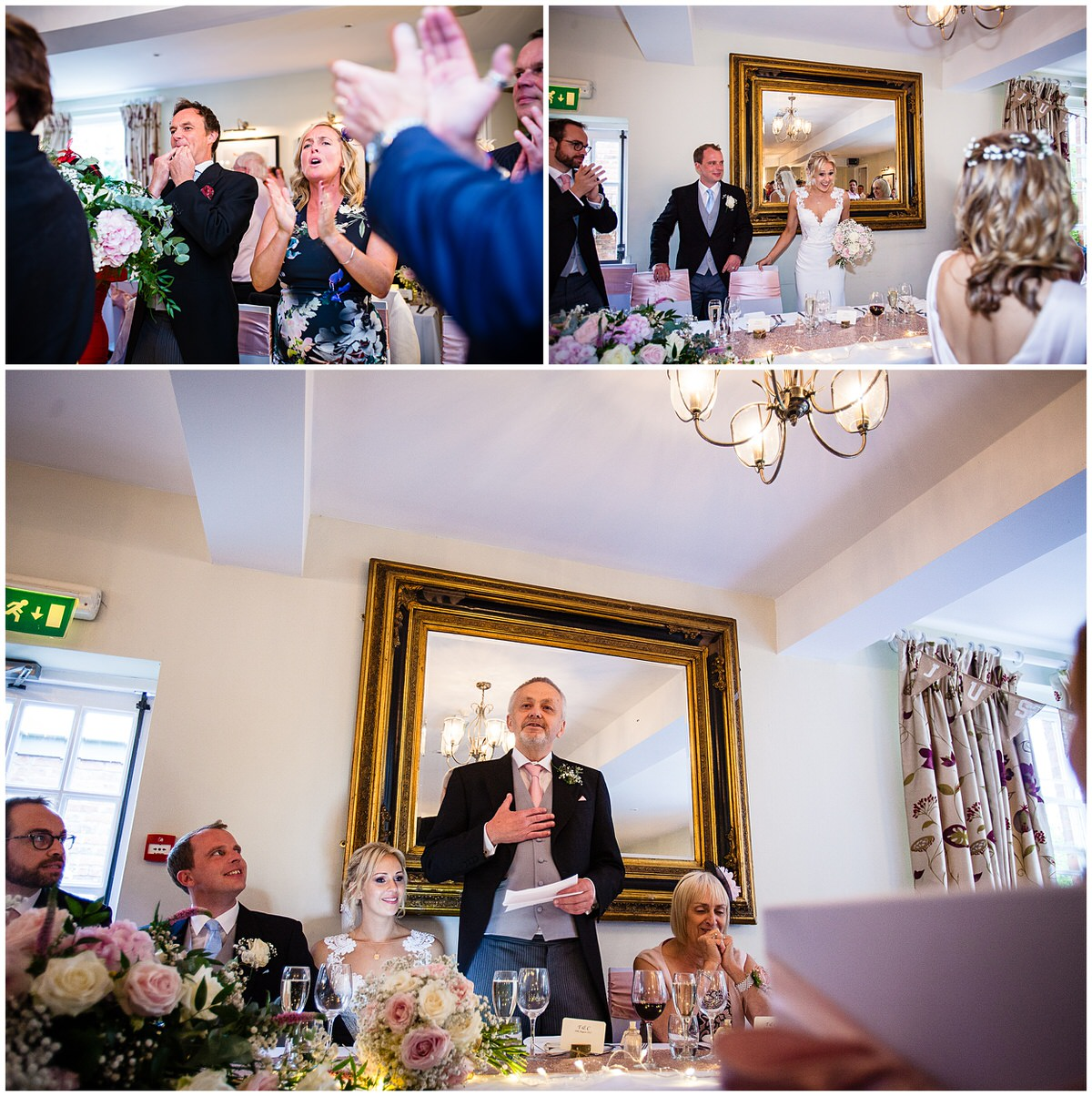 bride and groom entering the wedding breakfast and guests are cheering