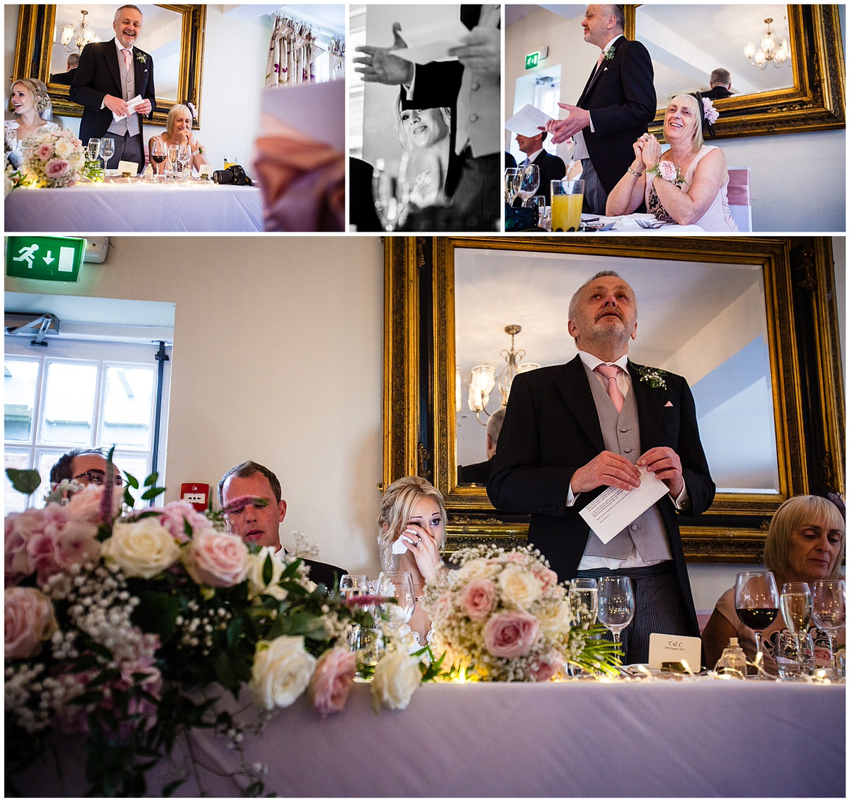 emotional dad - father of the birde doing his speech before the wedding breakfast