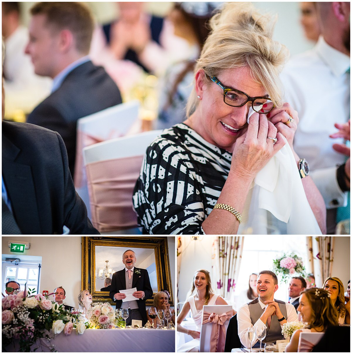 guests crying at laughing at father of the bride speech -Mytton and Mermaid Wedding Photographer