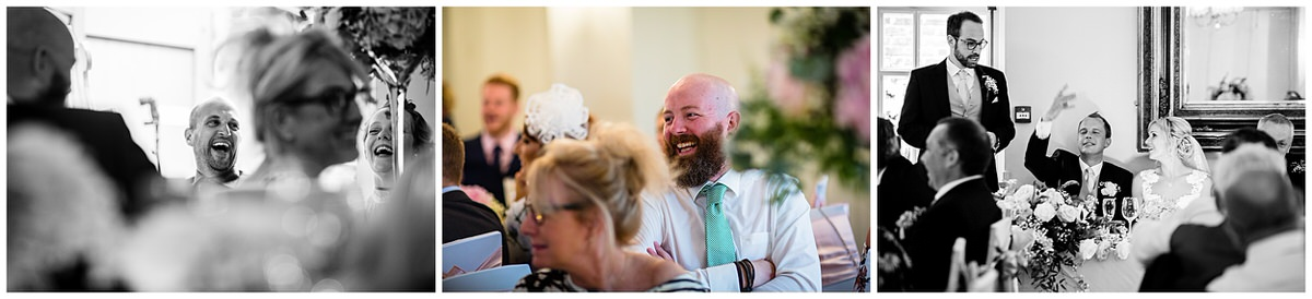 guests laughing at the best man joke Mytton and Mermaid Wedding Photographer