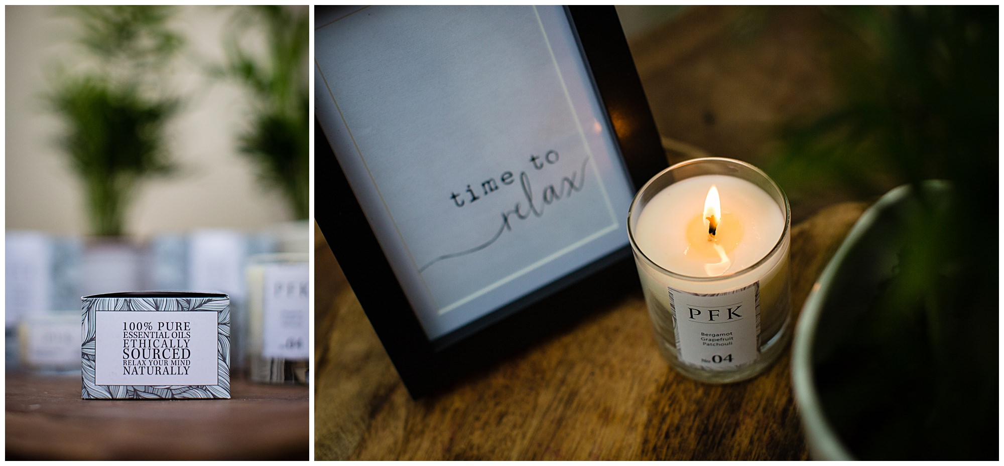 box with text about the ethics of the candle and lit candle with stylish text in frame time to relax