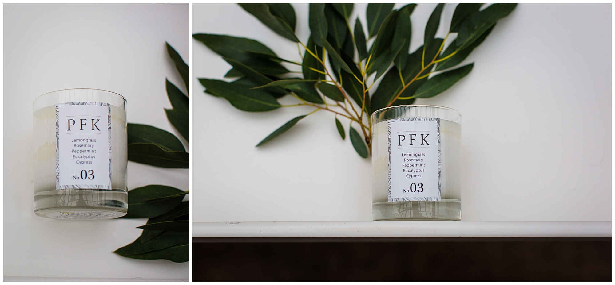 simple shot of homemade candle and eucalyptus on a white tray Lifestyle Photographer Shropshire