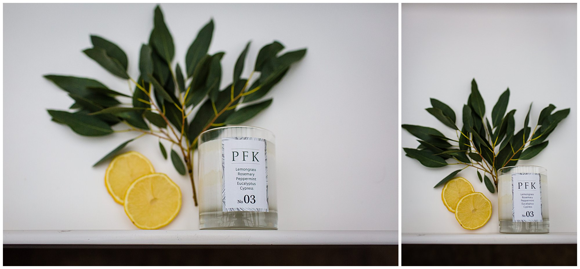 Lifestyle Photographer Shropshire - simple shot with PFK candle, sliced lemon and eucalyptus