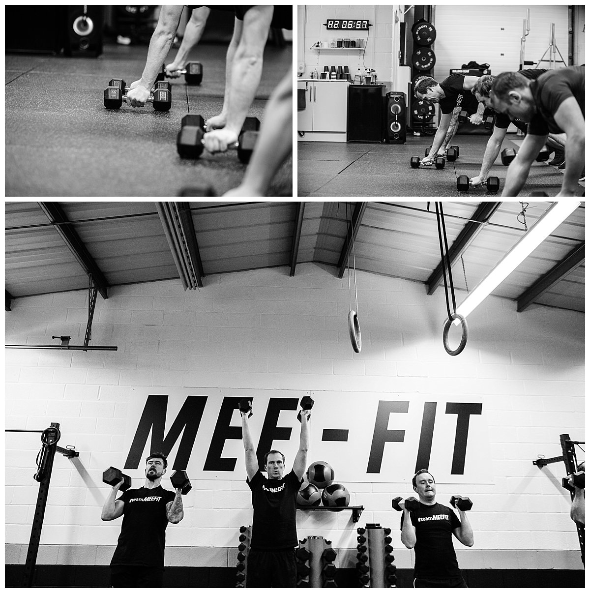 close up shots of men using weights and wide angle os men with dumb bells in the air - gyms in whitchuch, shropshire