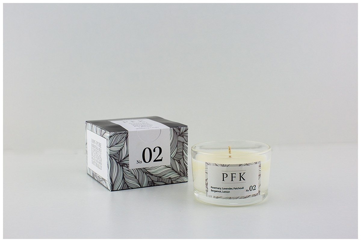 number 2 PFK smaller candle product shot with white backdrop - commercial photographer shropshire