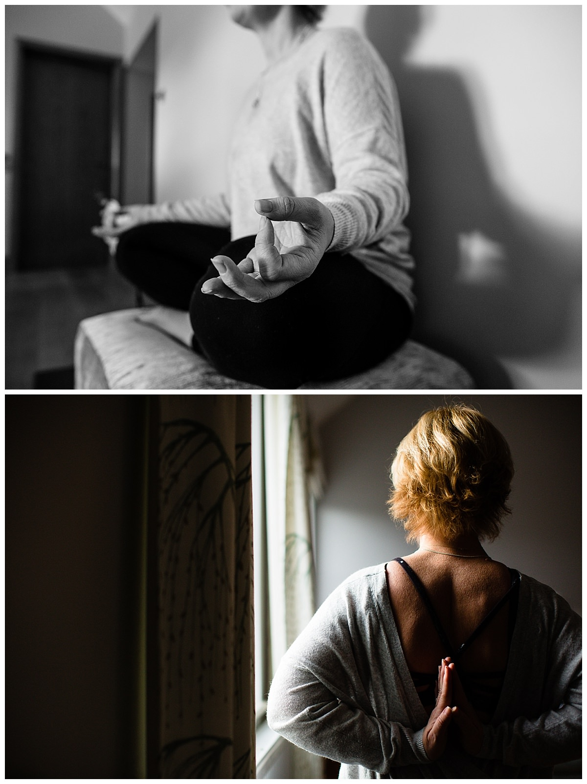 close ups of Paula Fox Kirkham performing yoga in natural window light