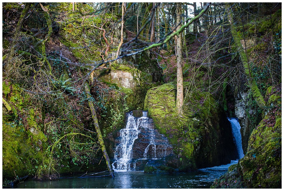 landscape photo of new chapel waterfall, cardigan bag, south wales