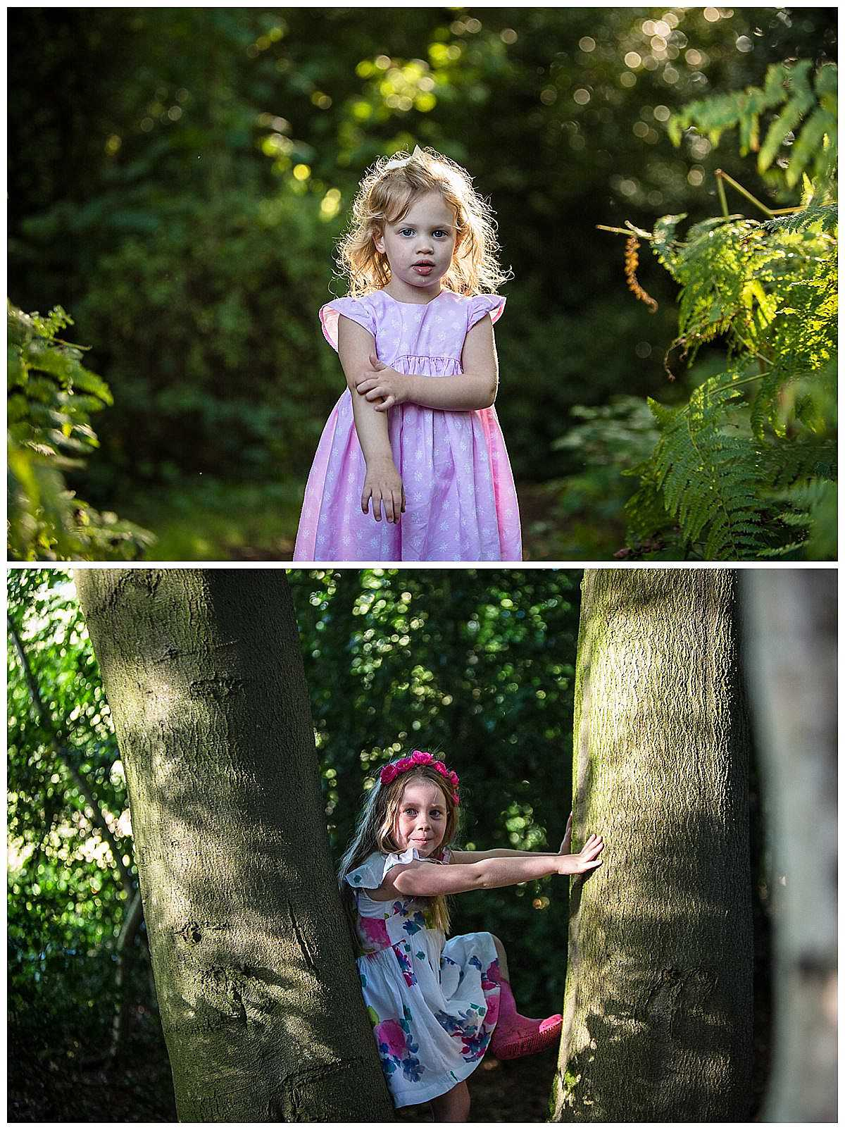 little girl beautifully back lit with golden light in pink dress and little girl sat in a tree in a floral dress looking cheeky! shropshire family photography