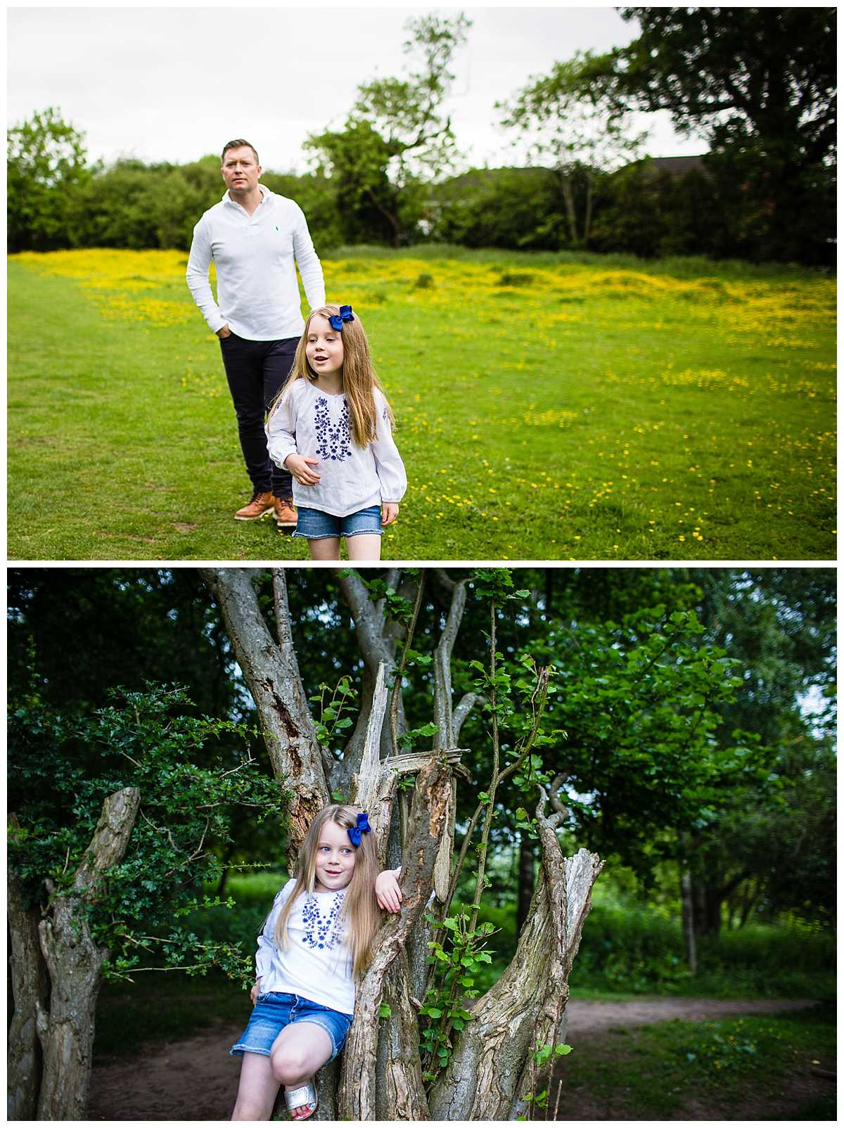 little girl walking ahead of her dad looking amused and also standing in the tree - Whitchurch Shropshire Family Photographer
