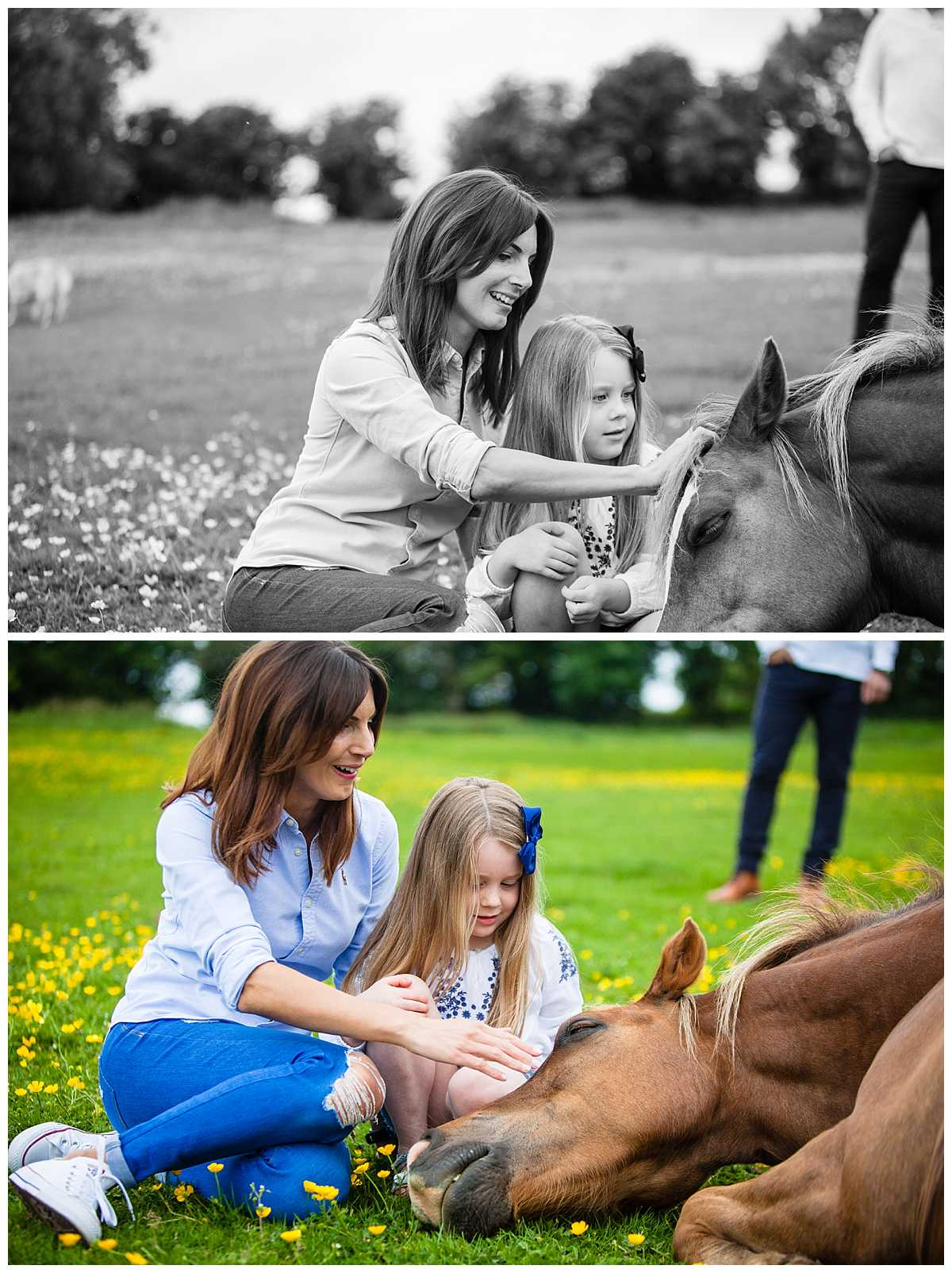 mum and daughter sat on the grass with a brown horse making a fuss of them -whitchurch family photographer