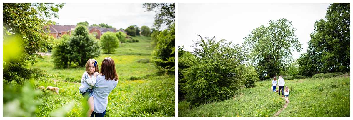 photos taken from behind at family walk through the fields - whitchurch, shropshire family photographer