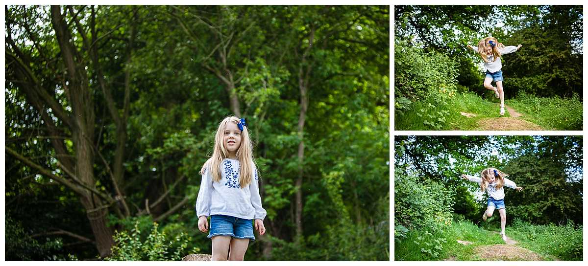 liltte girl amongst the greenery jumping around - whitchurch, shropshire, family photography