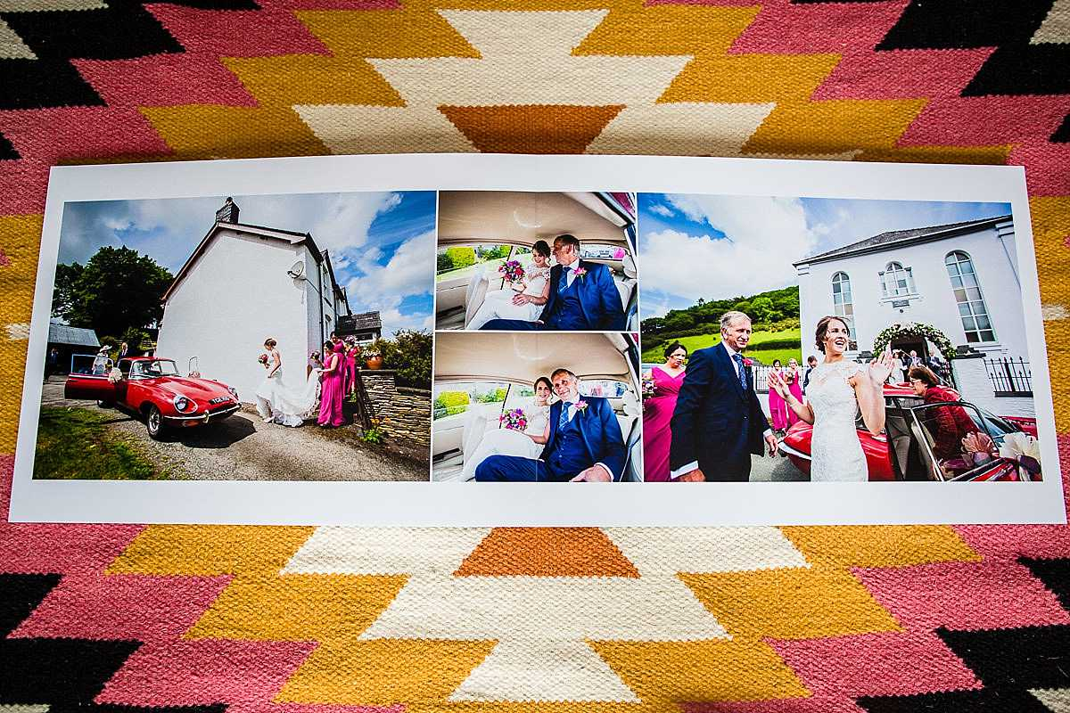 a funny spread of a wedding album where a bride is getting out of the wedding car with a tah da! expression!