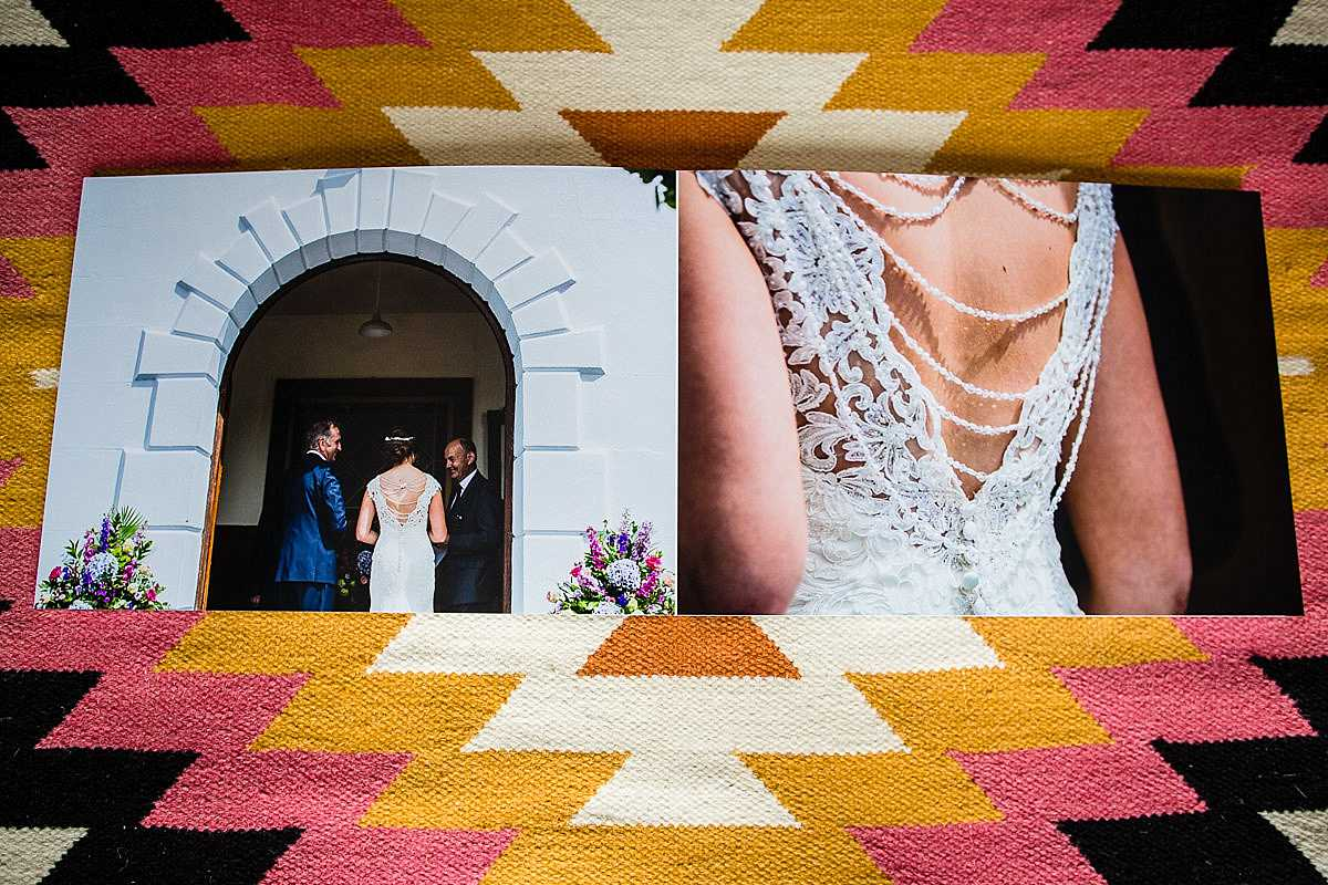 beautiful spread of a wedding album where a bride is ready to go into the chapel with her dad and a close up detail shot of her dress
