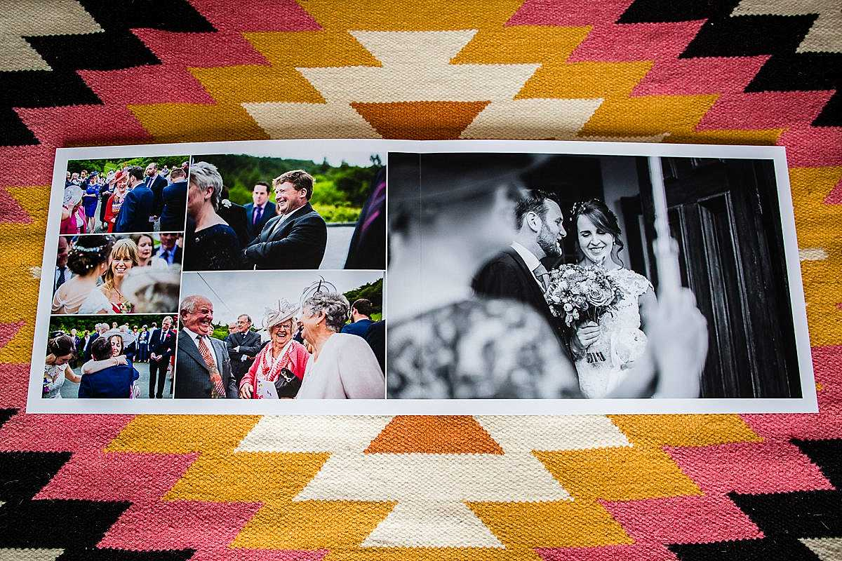 lots of lovely expressions of guests coming out of church and a close up of the bride and groom under their umbrella printed in a beautiful hand crafted wedding album