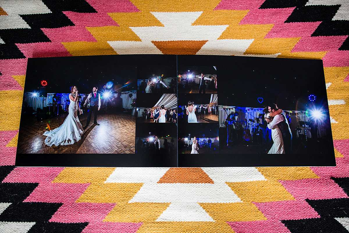 various fun evening photos of bride and groom singing to each other in their first dance printing on one of the closing pages in wedding album