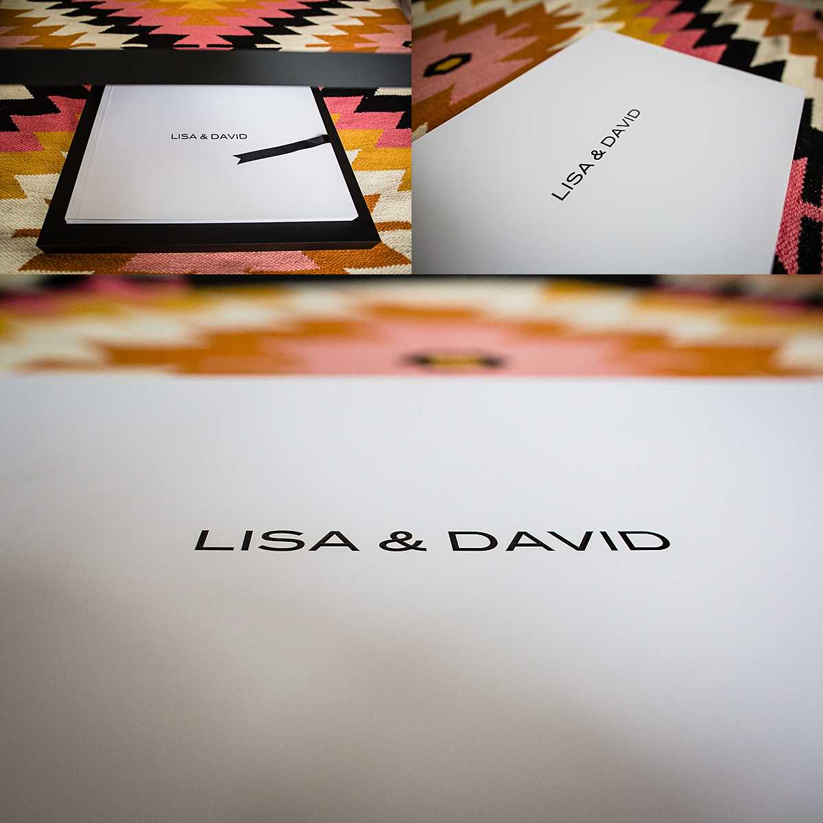 collage of different photos of front cover of a wedding album with a black box and white cover with bride and grooms name printed on for personal touch