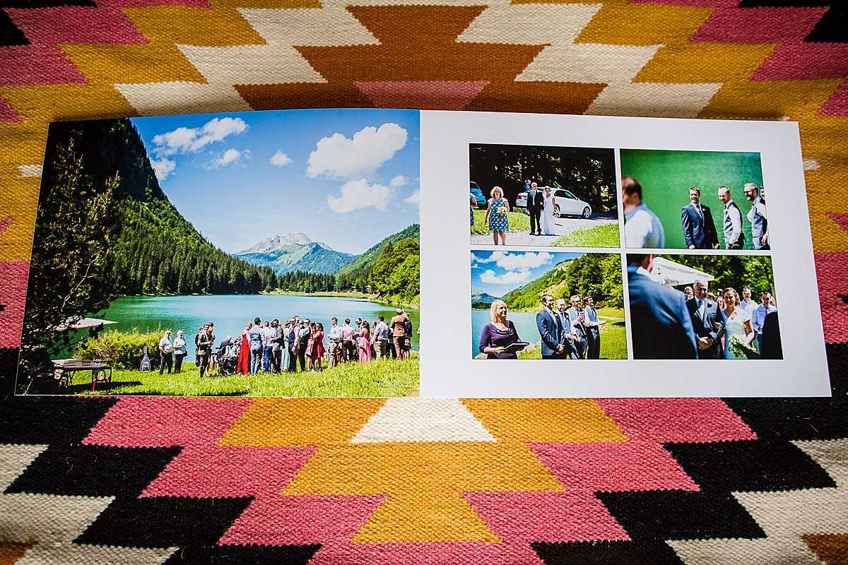 beautiful vibrant double spread printed of a wedding ceremony at lake montrionddin morzine, france