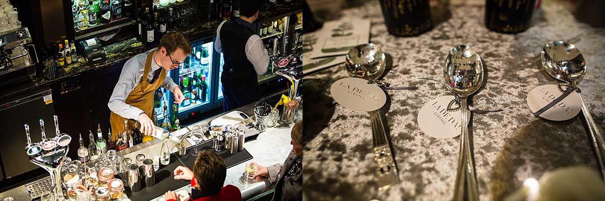 Staff serving drinks in 1539 at the main bar and some engraved spoons with sentimental sayings on