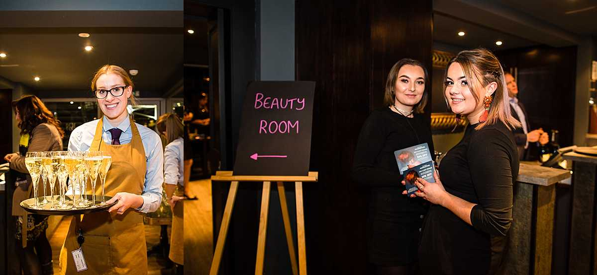 champagne on a tray for staff to hand out and ladies handing out information for the beauty room