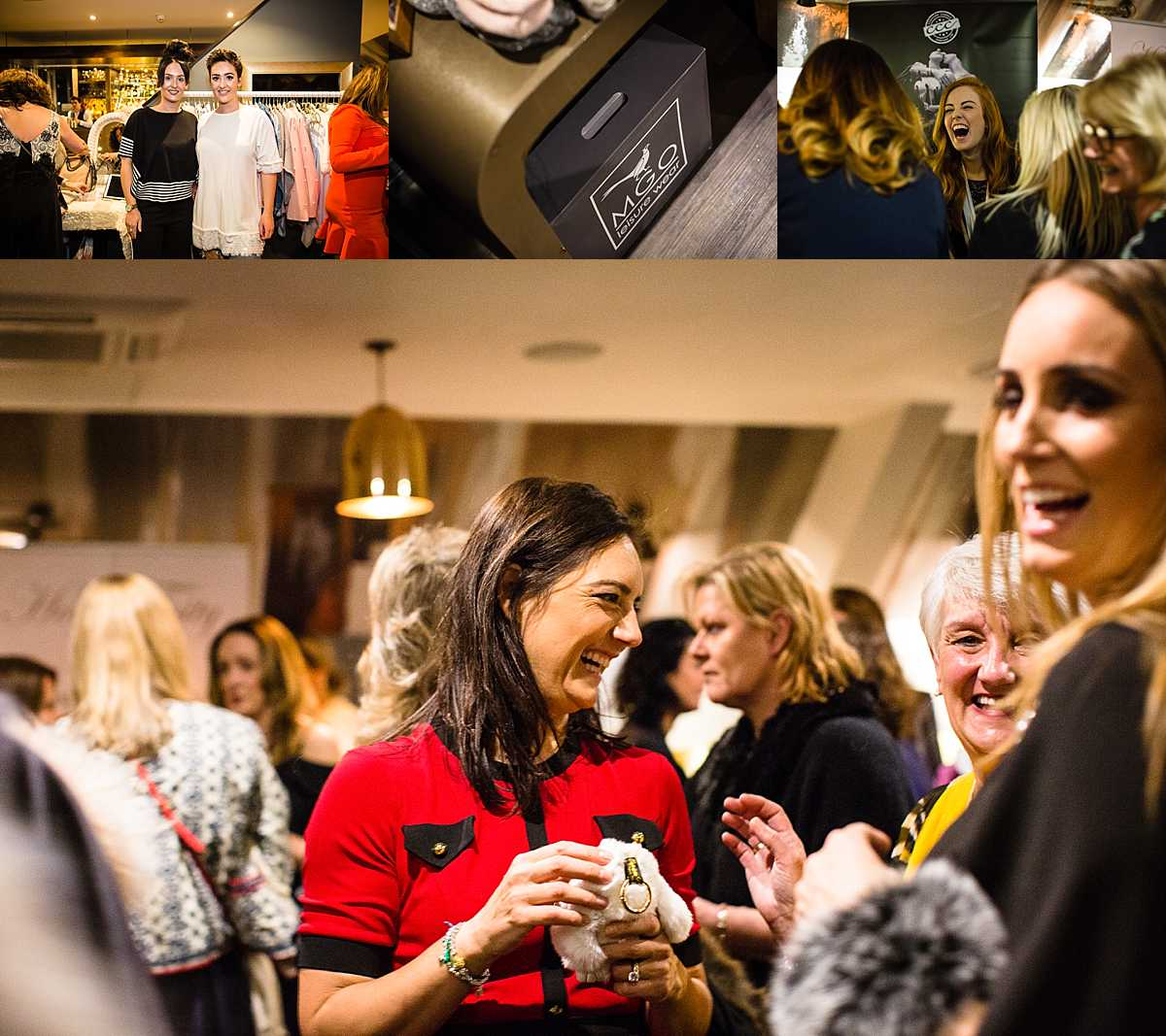 candid shots of ladies laughing and smiling at 1539 chester race course event