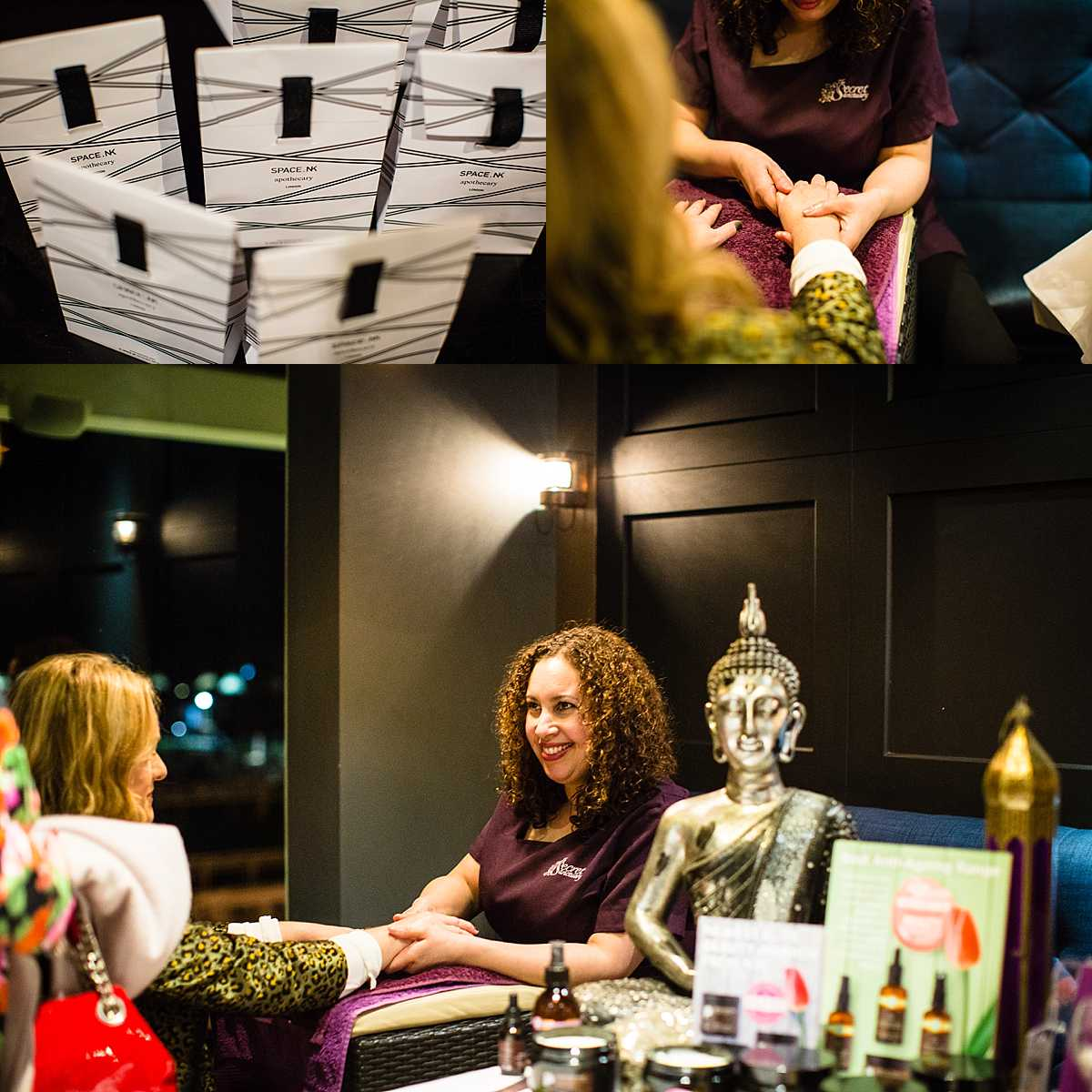 secret sanctuary business owner giving a client hand massage