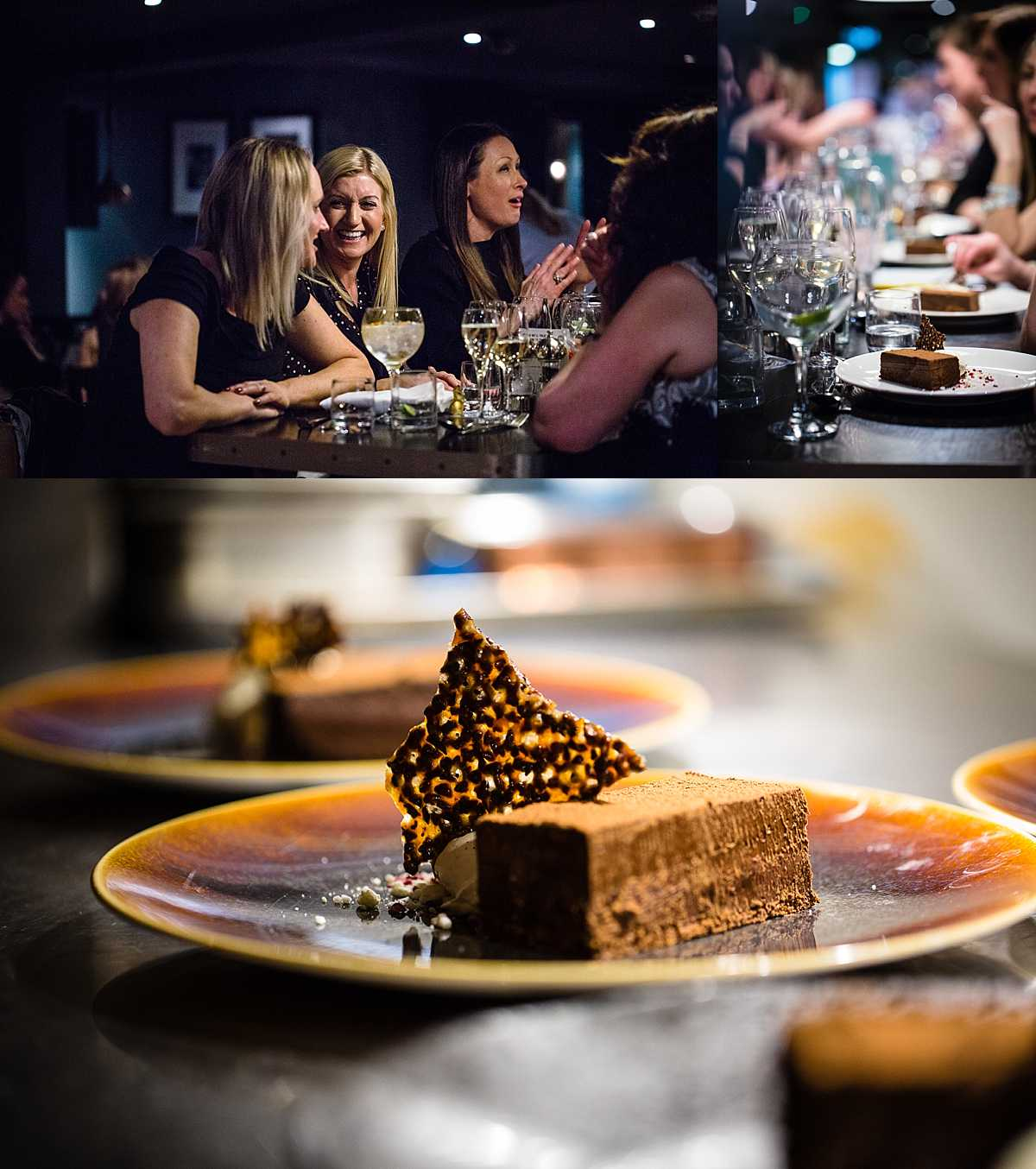 ladies eating pudding at the table in 1539 and a close up chocolate torte with chocolate honeycomb decor