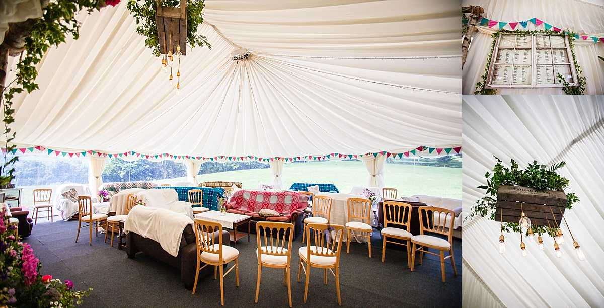 sofa seating area in the marquee, hand made seating plan and crate and foliage lighting