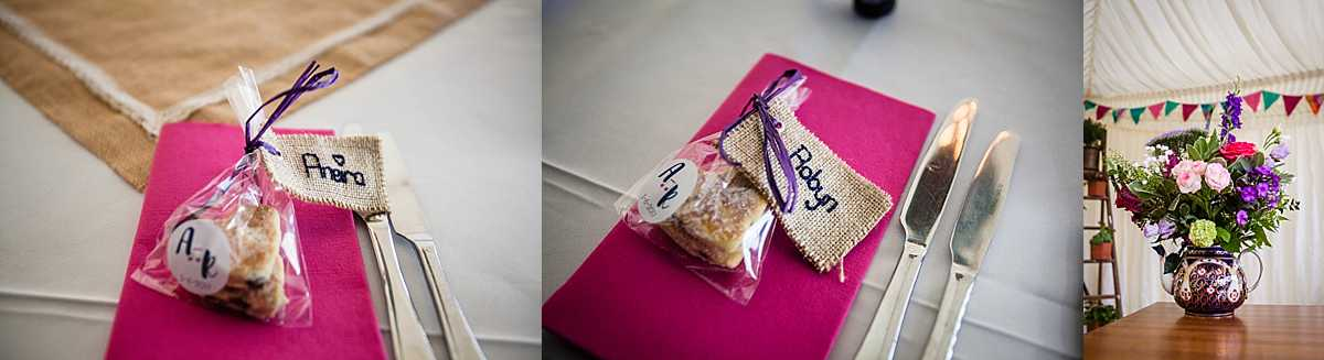 personlised handmade biscuits with handstitched nam place settings for the bride and groom