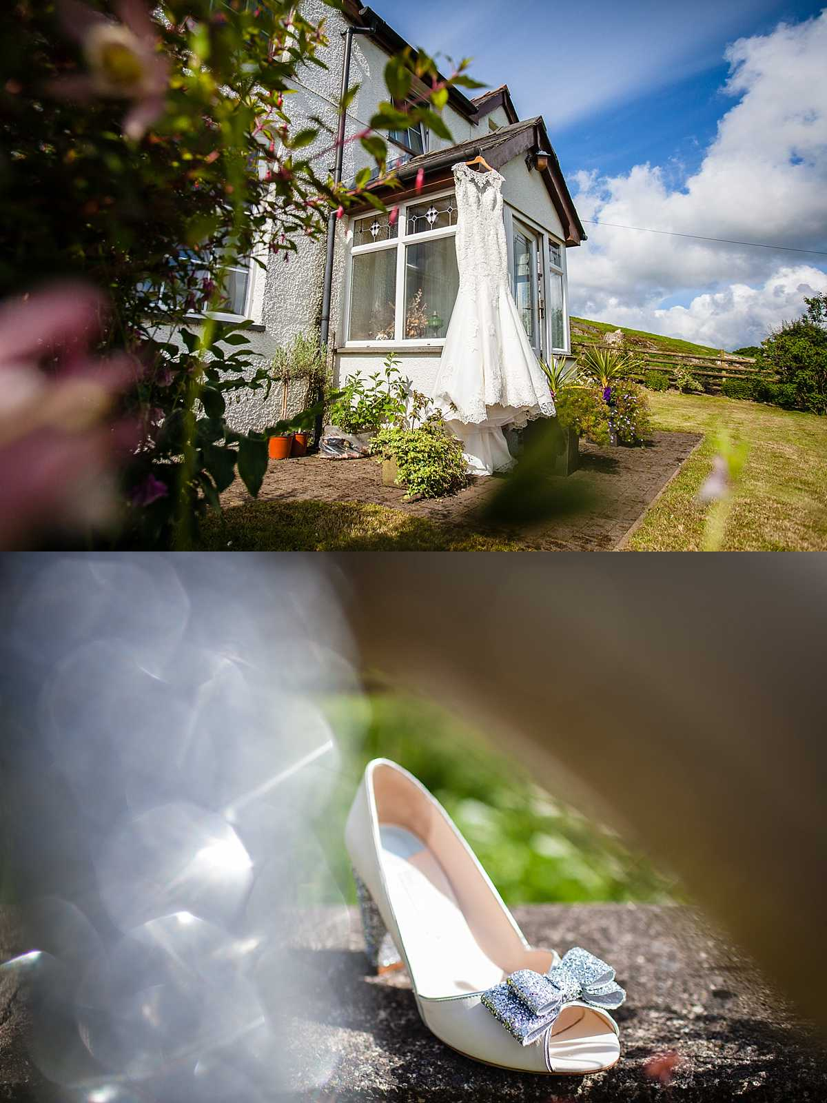 vintage wedding dress hanging outside welsh farm house with glittery sparkly shoes