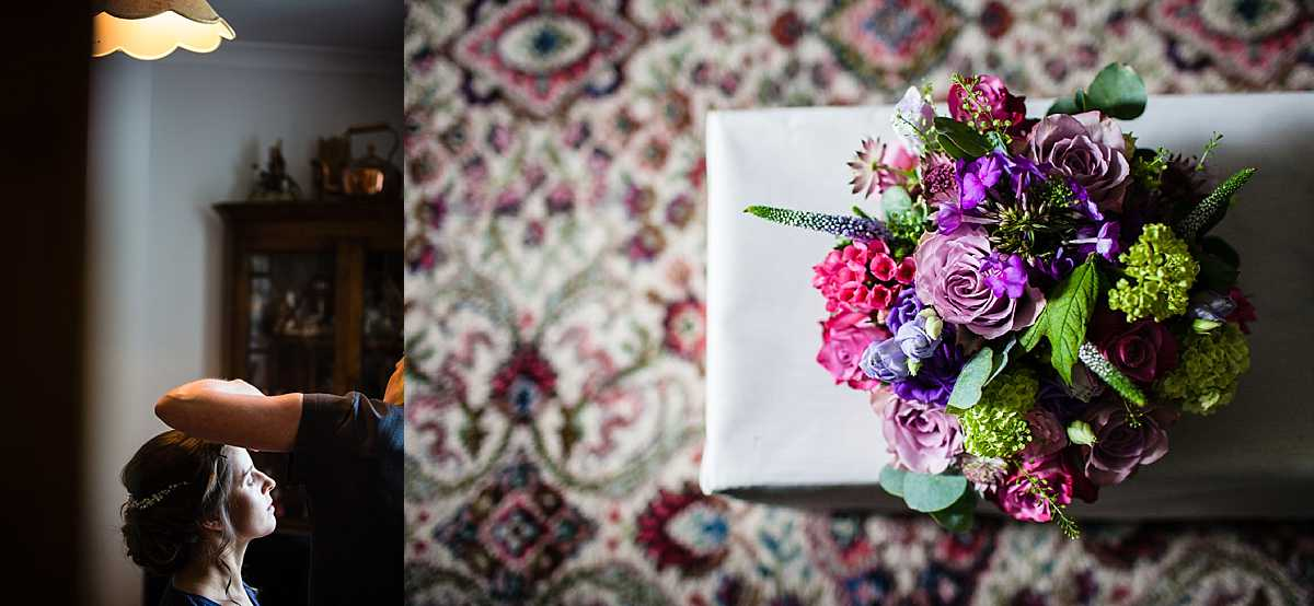 bride sat in natural light as she has her makeup done and colourful bride bouquet