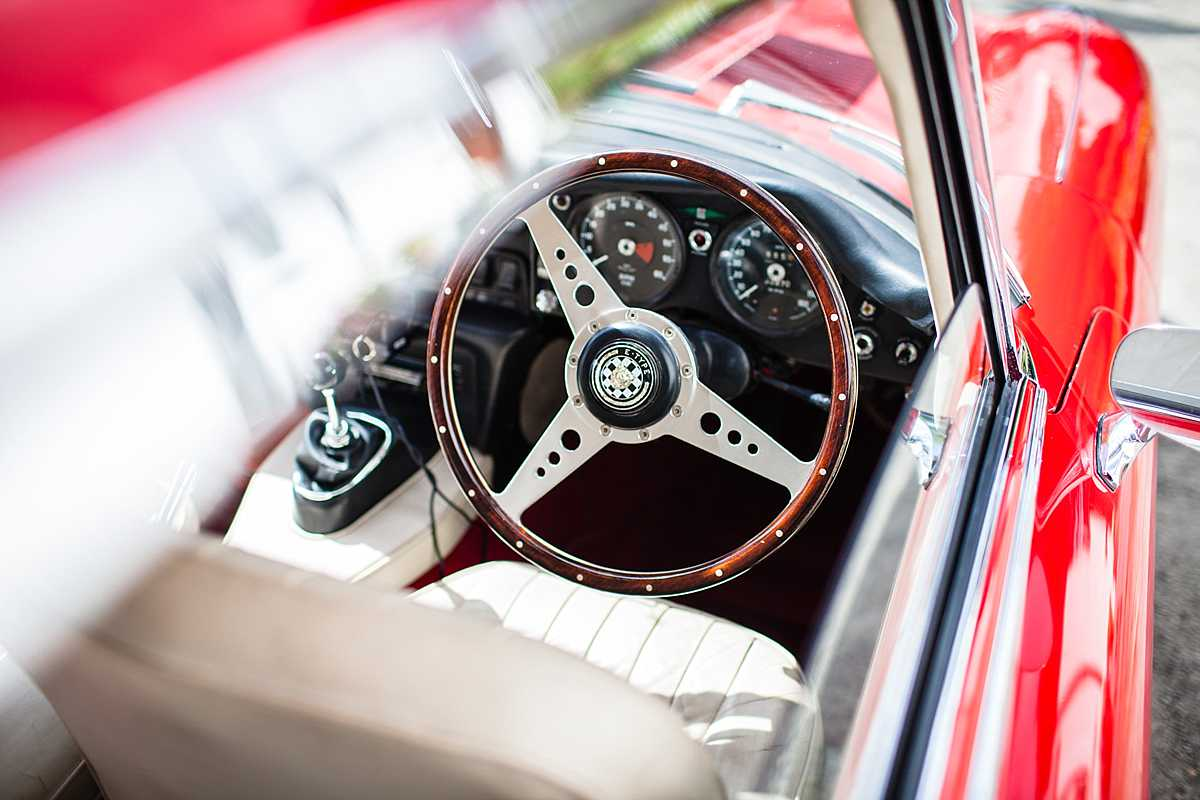 close up photo the interior of the e-type jaguar car - wedding in Machynlleth