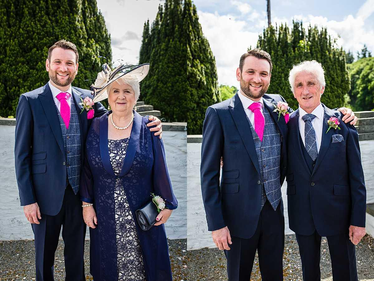 groom having a photo with his mum and his dad outside aberhosan chapel Machynlleth