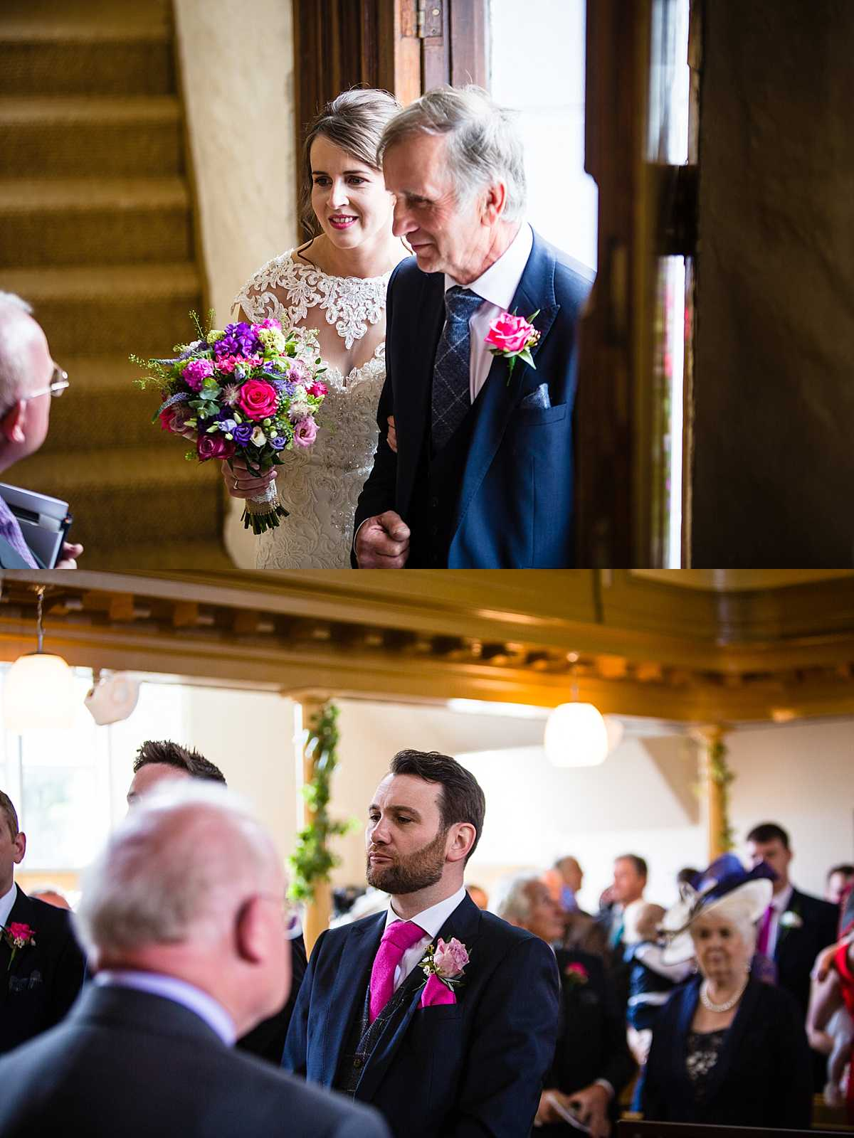 bride and father of the bride about to walk into church and the groom waiting at the alter with a concentrating face