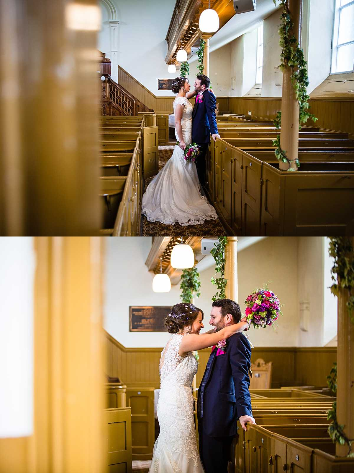 bride and groom back in an empty church and laughing amongst themselves at something hilarious