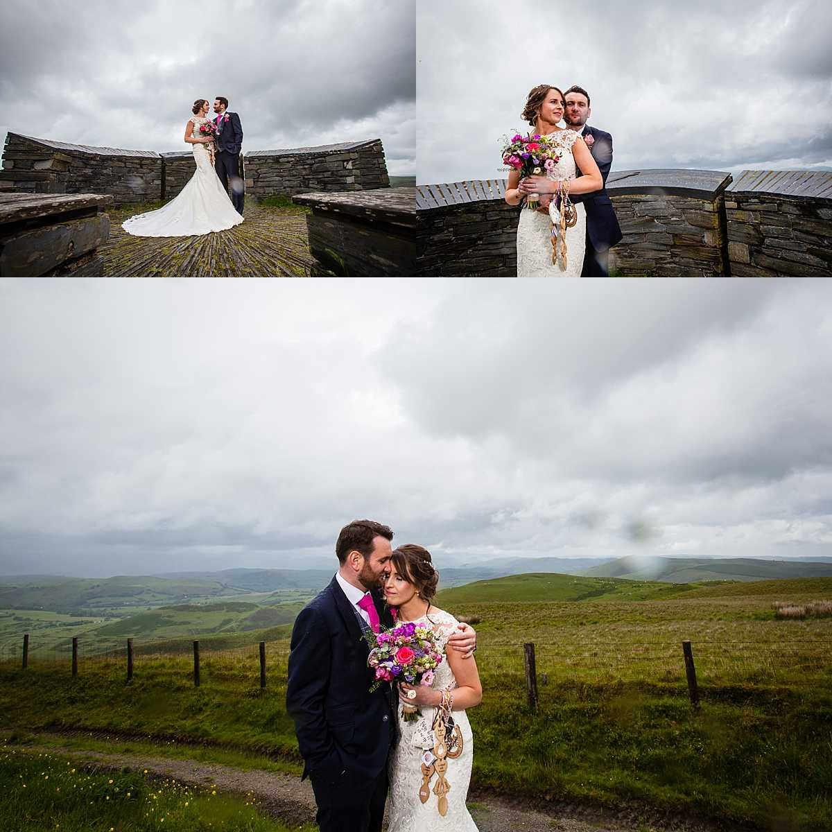 bride and groom nuzzled in together up in the welsh hills with lovely mountain views in the background